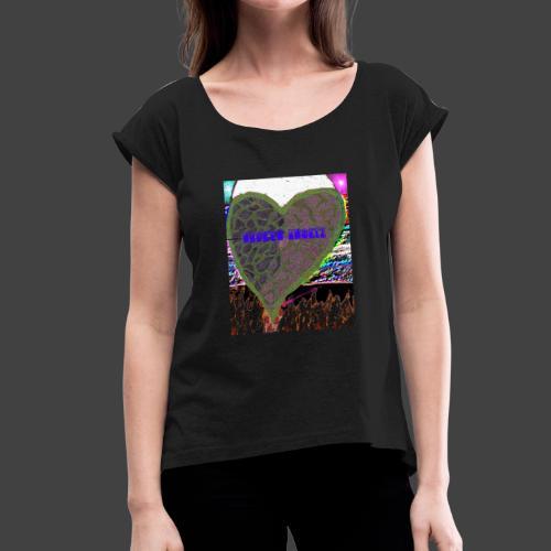 heart attack - Women's Roll Cuff T-Shirt