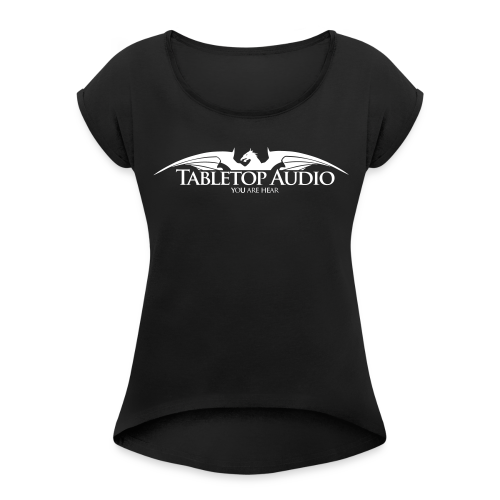 Tabletop Audio: Logo White - Women's Roll Cuff T-Shirt