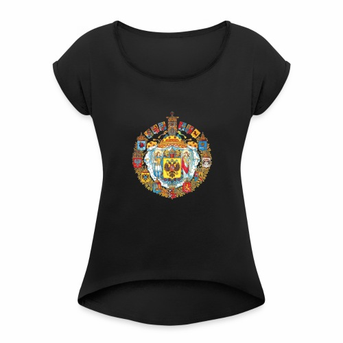 800px Greater coat of arms of the Russian empire - Women's Roll Cuff T-Shirt