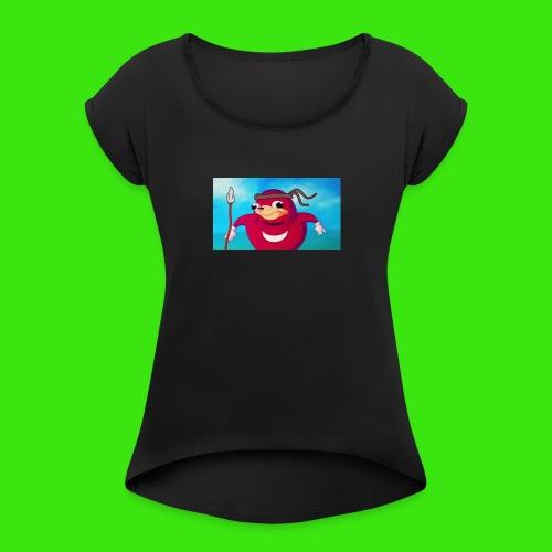 Do you know de wei - Women's Roll Cuff T-Shirt