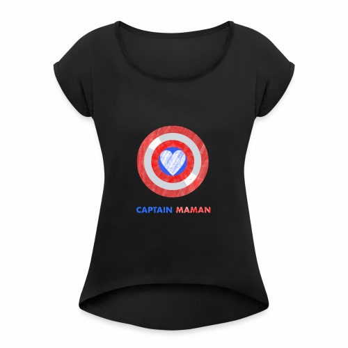 CAPTAIN MAMAN - Women's Roll Cuff T-Shirt