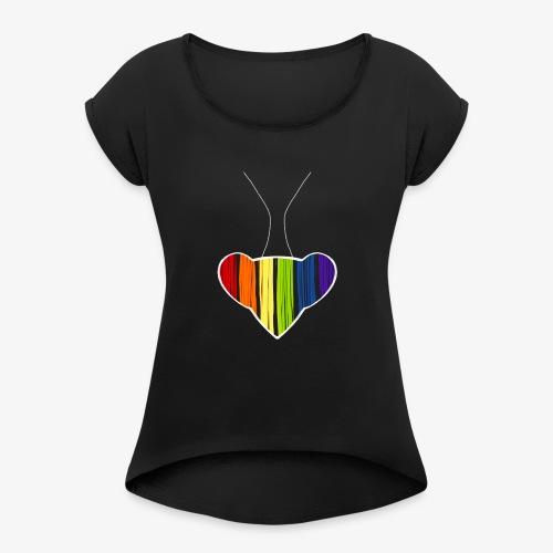 Rainbow Heart Mantis - Women's Roll Cuff T-Shirt