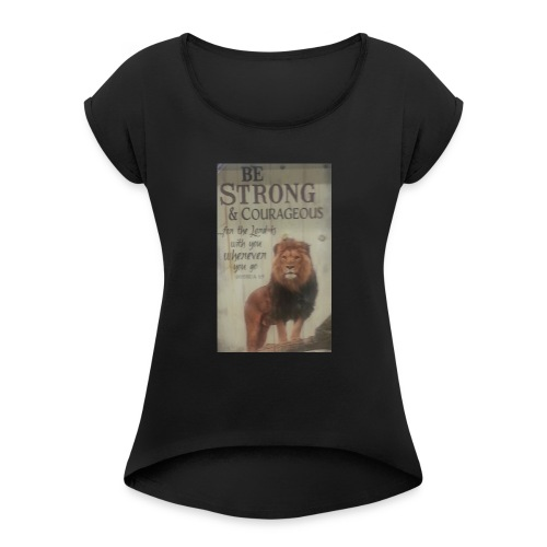 lion updates picture - Women's Roll Cuff T-Shirt
