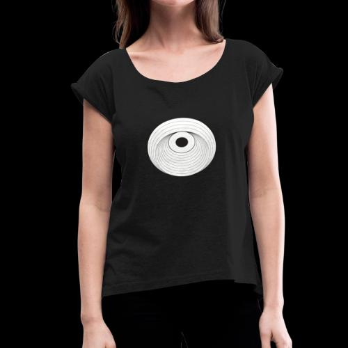 Black Dirt Vortex Logo Light - Women's Roll Cuff T-Shirt