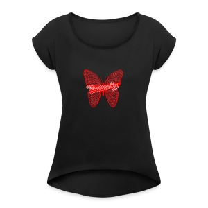 BUTTERFLY WORD RED - Women's Roll Cuff T-Shirt