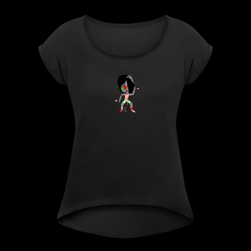Evil lil neko - Women's Roll Cuff T-Shirt