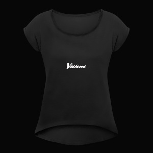 Visions white on black tees and hoodies - Women's Roll Cuff T-Shirt