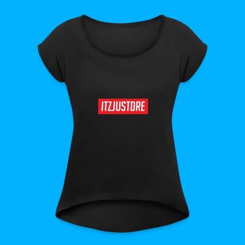 Red ItzJustDre Box Logo - Women's Roll Cuff T-Shirt