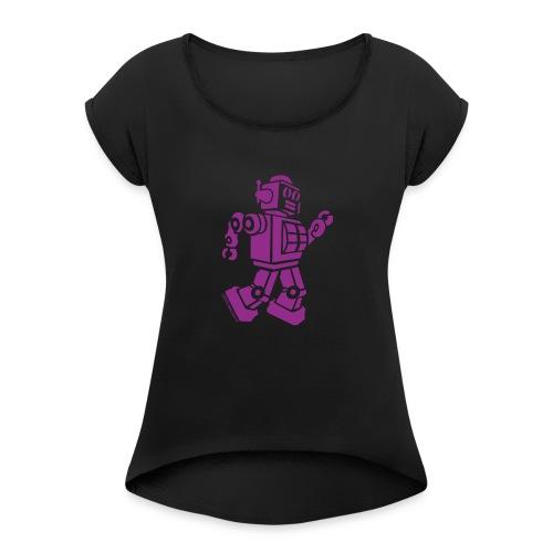 Dancing Robot #2 Purple - Women's Roll Cuff T-Shirt