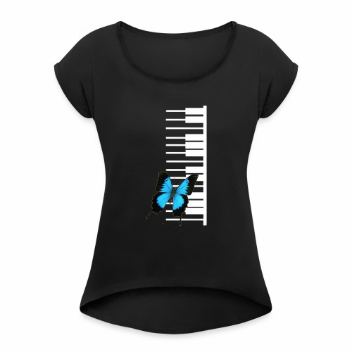 White piano with butterfly - Women's Roll Cuff T-Shirt