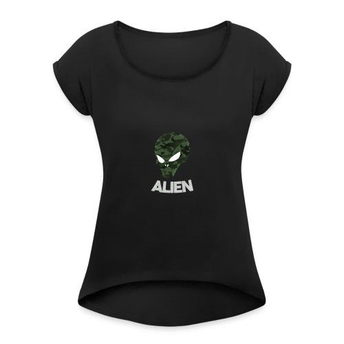 Military Alien - Women's Roll Cuff T-Shirt