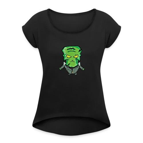 Frankenstein Halloween print - Women's Roll Cuff T-Shirt