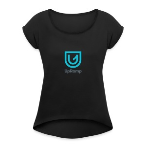 UpRamp Logo Blue Stacked ColorWhite - Women's Roll Cuff T-Shirt