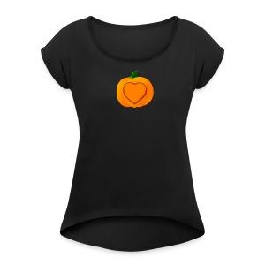 Halloween heart - Women's Roll Cuff T-Shirt