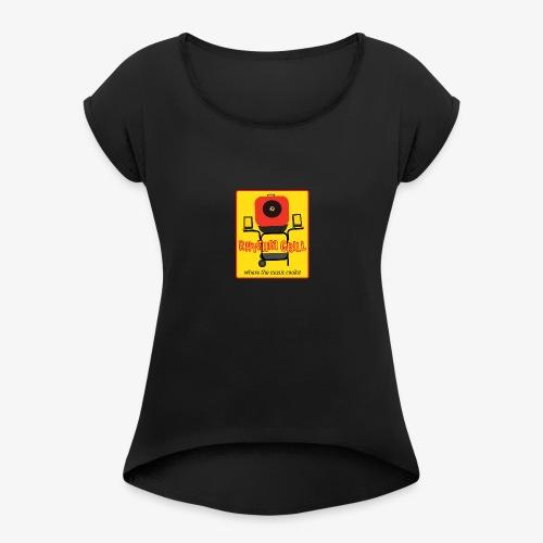 Rhythm Grill patch logo - Women's Roll Cuff T-Shirt