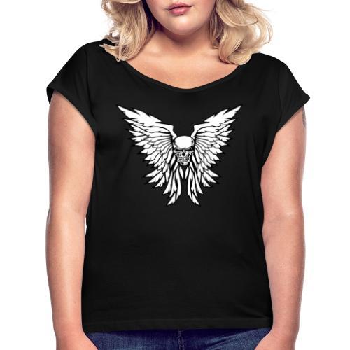 Classic Old School Skull Wings Illustration - Women's Roll Cuff T-Shirt