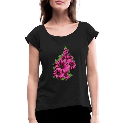 Pink Daisy Flowers - Women's Roll Cuff T-Shirt