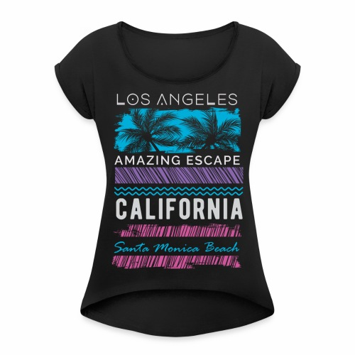 santa monica - Women's Roll Cuff T-Shirt