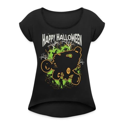 ATV Quad Happy Halloween - Women's Roll Cuff T-Shirt