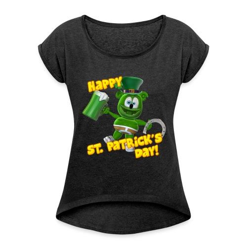 Gummibär (The Gummy Bear) Saint Patrick's Day - Women's Roll Cuff T-Shirt
