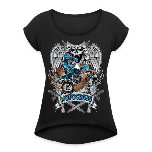 Heraldic Motocross Blue - Women's Roll Cuff T-Shirt
