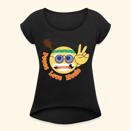 Peace love music hippie smiley - Women's Roll Cuff T-Shirt