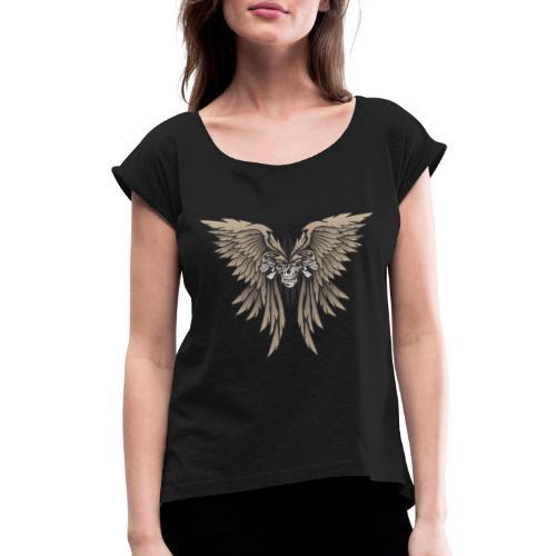 Skulls and Wings Illustration - Women's Roll Cuff T-Shirt