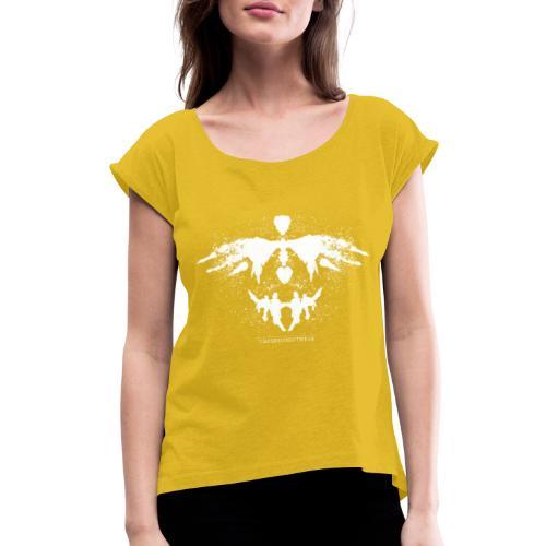Rorschach_white - Women's Roll Cuff T-Shirt