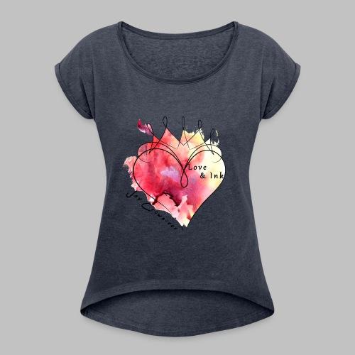 Black Text - Women's Roll Cuff T-Shirt