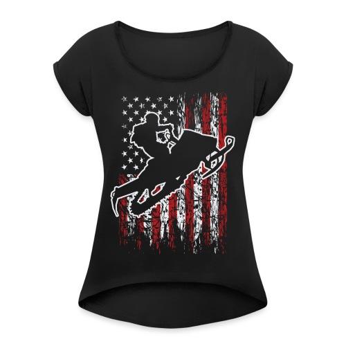 Snowmobiling USA Flag - Women's Roll Cuff T-Shirt