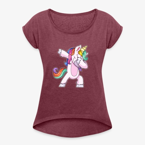 DABBING UNICORN Kid - Women's Roll Cuff T-Shirt