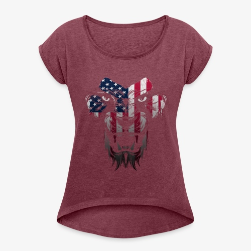 American Flag Lion Shirt - Women's Roll Cuff T-Shirt