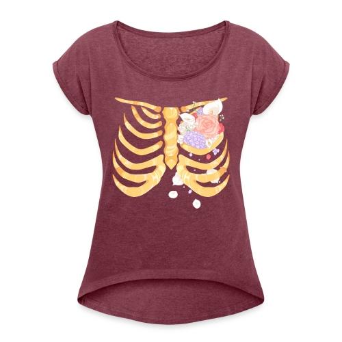 Pastel Goth Gold Rib Cage Shirt - Women's Roll Cuff T-Shirt