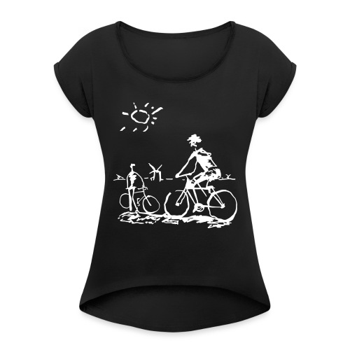 Bicycle Bicycling Picasso - Women's Roll Cuff T-Shirt