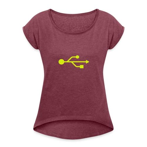 Yellow USB Logo Mid - Women's Roll Cuff T-Shirt