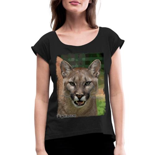 Cougar Stare - Women's Roll Cuff T-Shirt