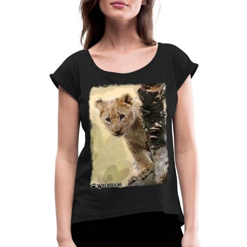 Lion Cub Peeking - Women's Roll Cuff T-Shirt