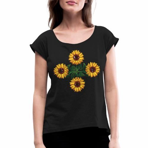 Night Blooms from the Sun - Women's Roll Cuff T-Shirt