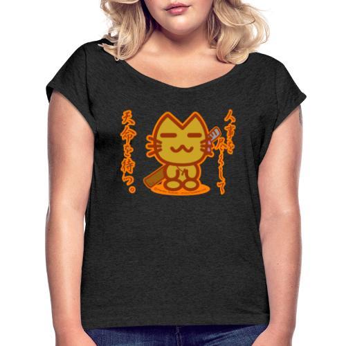 Samurai Cat - Women's Roll Cuff T-Shirt