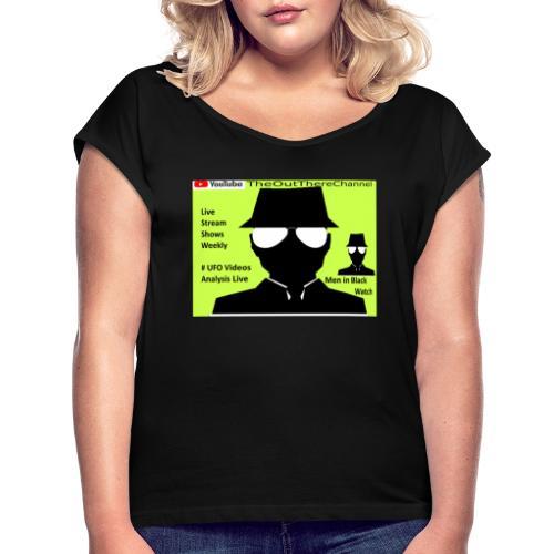 Mib 2 Men with Back Crew Logo - Women's Roll Cuff T-Shirt