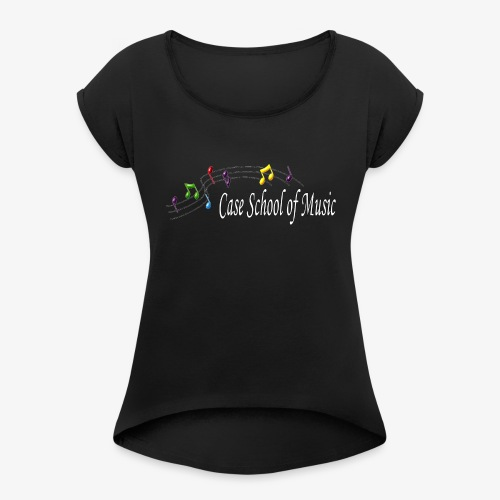 Case School of Music Logo - Women's Roll Cuff T-Shirt