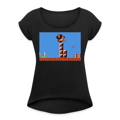 Thanksgiving gaming - Women's Roll Cuff T-Shirt