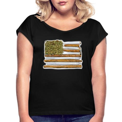 American Flag With Joint - Women's Roll Cuff T-Shirt