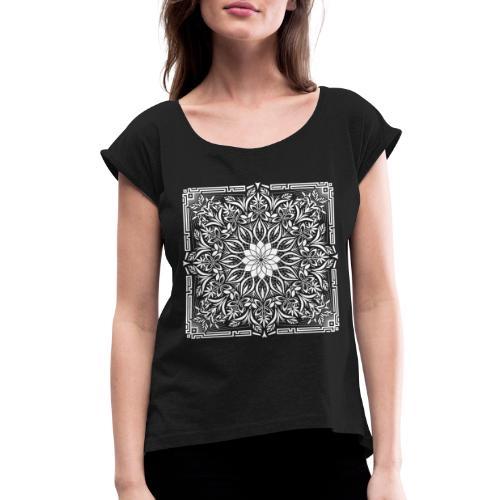Psychedelic Mandala Geometric Illustration - Women's Roll Cuff T-Shirt