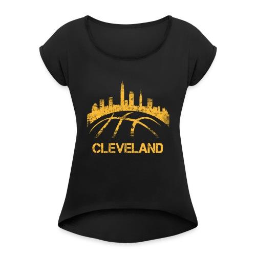 Cleveland Basketball Skyline - Women's Roll Cuff T-Shirt