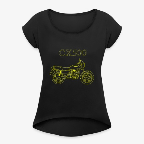 CX500 line drawing - Women's Roll Cuff T-Shirt