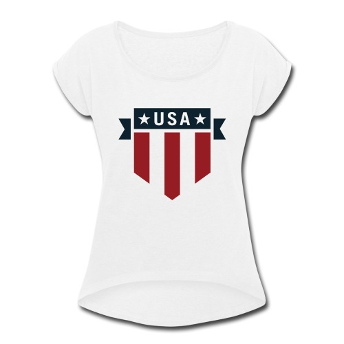 USA Pride Red White and Blue Patriotic Shield - Women's Roll Cuff T-Shirt