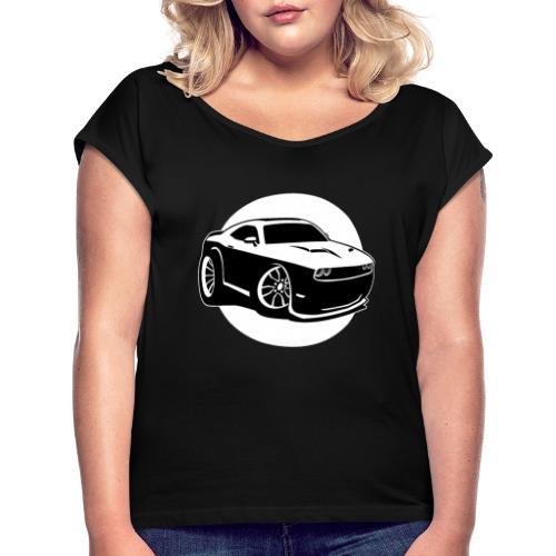 Modern American Muscle Car Cartoon Illustration - Women's Roll Cuff T-Shirt