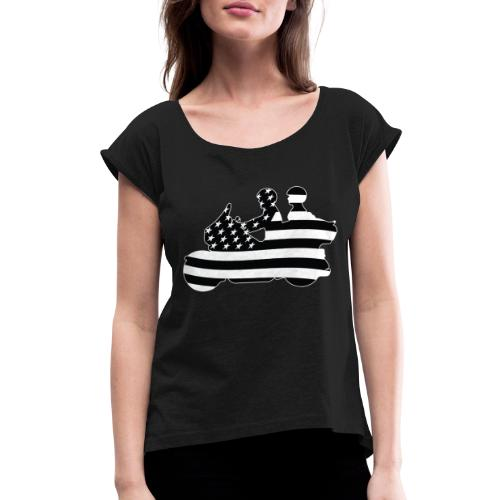 Patriotic American Flag Touring Motorcycle - Women's Roll Cuff T-Shirt