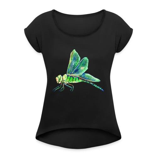 green dragonfly - Women's Roll Cuff T-Shirt